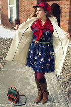maroon vintage hat - camel sears boots - navy Target dress - white Old Navy coat