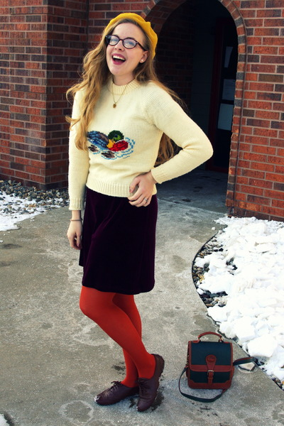cream vintage sweater - crimson vintage dress - burnt orange Target tights
