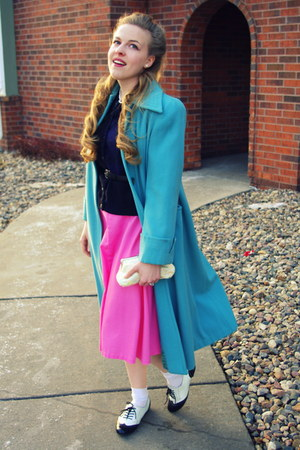 sky blue vintage coat - bubble gum vintage skirt - dark gray vintage cardigan