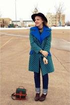 blue vintage coat - green vintage coat - black vintage hat