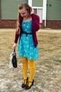 Sky-blue-kohls-dress-maroon-target-sweater-yellow-target-tights