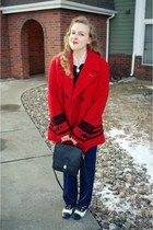 red Grandfathers coat - navy vintage jeans - black coach purse