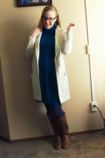 cream vintage sweater - brown sears boots - teal Walmart dress