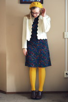 navy vintage dress - mustard Target hat - cream vintage jacket