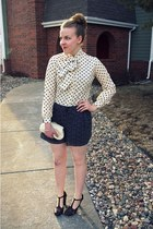 cream vintage blouse - navy kohls shorts