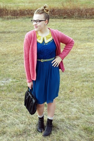 mustard swapped blouse - teal kohls dress - bubble gum vintage sweater