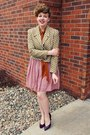 Light-brown-vintage-jacket-pink-swapped-skirt-crimson-payless-heels