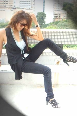 Mango jeans - Mango top - vest - shoes - sunglasses