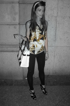 vintage top - Zara leggings - balenciaga shoes
