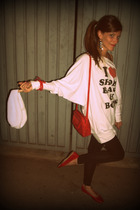 red Fendi purse - white brandy sweater - black Zara leggings
