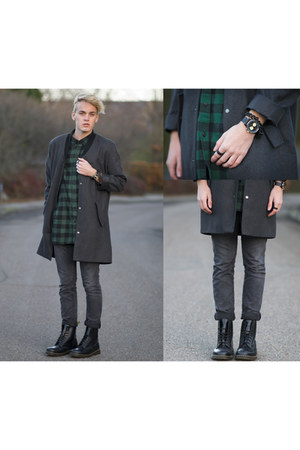charcoal gray Cheap Monday coat - black Dr Martens boots