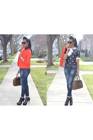 black ann taylor boots - blue Zara jeans - red JCrew blazer