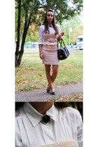 light pink Zara dress - white Terranova shirt - black Ray Ban sunglasses
