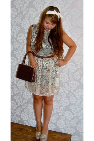 lace dress American Apparel dress - bow headband Urban Outfitters scarf