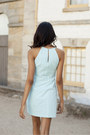 Light-blue-embroidered-forever-new-dress-nude-peeptoe-sandals
