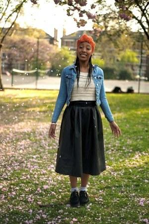 light blue denim jacket - carrot orange head scarf - black maxi skirt