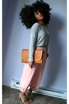 light pink high-waisted pants - silver sweater - bronze bag - tan strappy heels