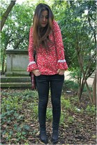 red Urban Outfitters bag - black Primark jeans - red vintage blouse