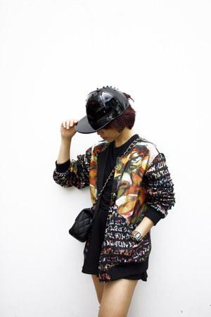 DIY coat - black Accessorize hat - black Chanel bag - gold casio watch