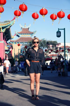 black American Apparel blouse - brown belt - blue rag & bone shorts - black shoe
