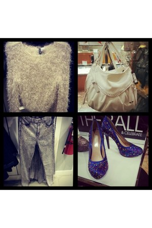 blue jeweled shoes INC shoes - silver H&M jeans