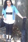 Blue-thrifted-jacket-white-new-york-company-shirt-black-random-tights-bl