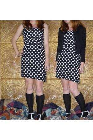 black dress - black knee high socks - white t-strap heels
