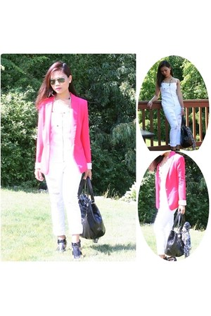 hot pink blazer - black shoes - white top