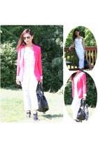 hot pink blazer - black shoes - white top