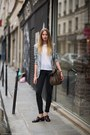 Black-jeans-heather-gray-blazer-brown-bag-brown-clogs-white-t-shirt