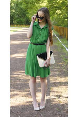 green Sheinside dress - nude Mohito purse - nude OASAP heels