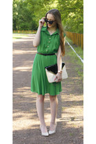 green Sheinside dress - nude Mohito purse - nude OASAP heels