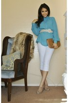 turquoise blue silk Givenchy blouse - Gucci bag - camel Kanar wedges