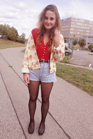 Secondhand jacket - DIY shorts - versace bodysuit