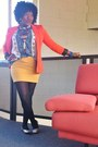 Light-blue-liz-jordan-shirt-carrot-orange-cotton-on-blazer-black-ally-tights