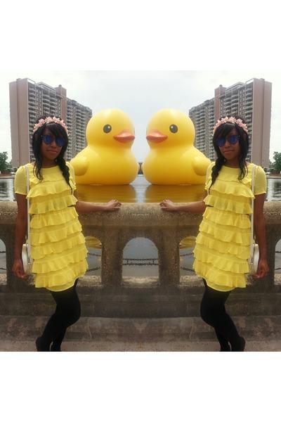 black Express tights - yellow ruffled H&M dress - black Hot Topic sunglasses