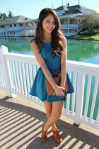 tawny wedge booties Charlotte Russe boots - teal flowy H&M dress