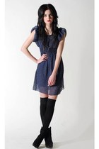 black pretty sunday boots - blue pretty sunday dress - silver fashionology neckl