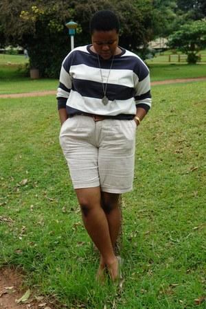 key Mr Price necklace - nautical Mr Price sweater - khakhi linen vintage shorts