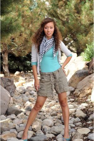 Aerie scarf - Down East Basics shirt - American Eagle cardigan - Gap shorts - pa