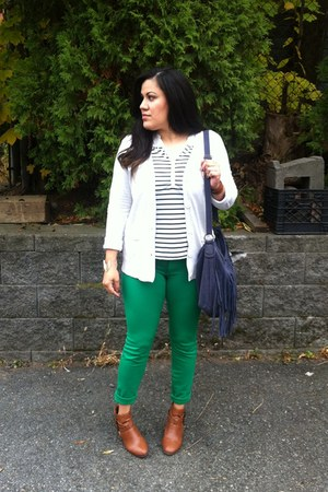 green INC pants - bronze cut out Bamboo boots - ivory cotton H&M shirt