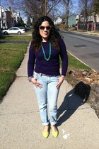 periwinkle Mandee jeans - deep purple knit Forever 21 sweater