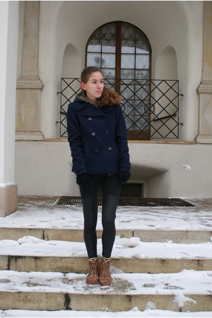 navy H&amp;M coat - dark brown Bershka boots - black OASAP leggings