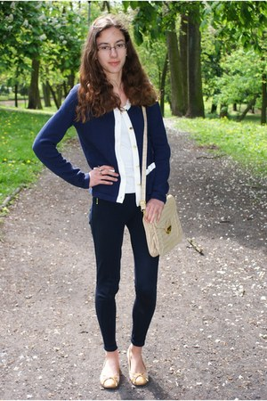 navy H&amp;M cardigan - navy Zara leggings - cream loliqpl bag