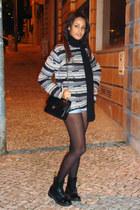 periwinkle Stefanel jumper - black patent Dr Martens boots - black Chanel bag