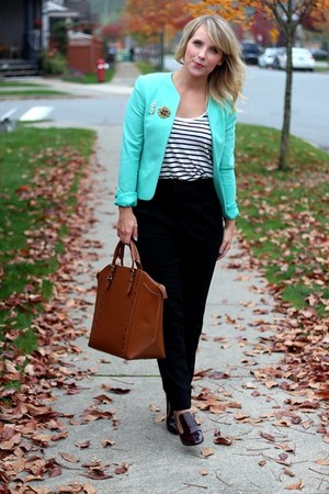 aquamarine RW&CO blazer - black high waisted American Apparel pants