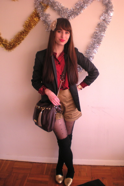 black thrifted blazer - black swiss dot Aldo tights - dark brown cynthia rowley