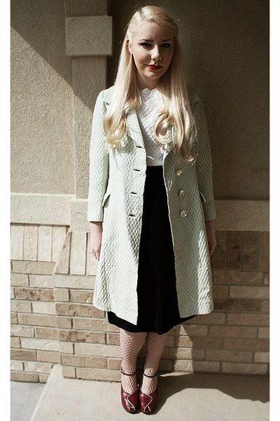 vintage coat - vintage blouse - vintage skirt - tights - vintage shoes