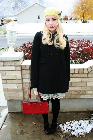 dress - Fred Perry coat - gloves - shoes - Prada purse - hat