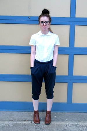 white mt shoes - thrifted pants - thrifted blouse